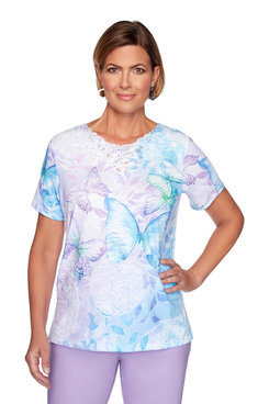Image: Petite Butterfly Medallion Lace Top