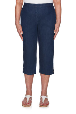 Image: Petite Button Cuff Denim Capri