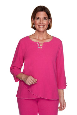 Image: Petite Button Trim Yoke Top