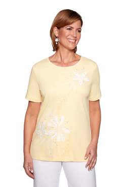 Image: Petite Center Applique Lace Top
