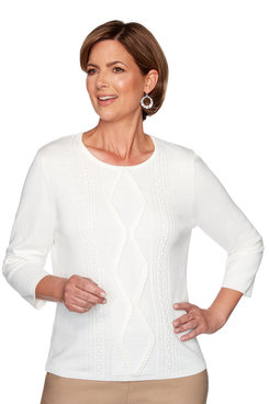Image: Petite Center Braid Applique Sweater