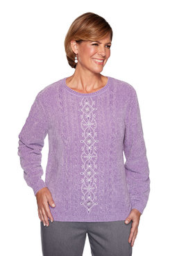 Image: Petite Center Embroidered Chenille Sweater