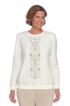 Petite Center Embroidery Anti-Pill Top