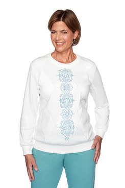 Image: Petite Center Embroidery Diamond Top