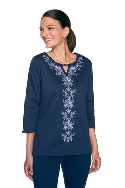 Image: Petite Center Floral Embroidery Top