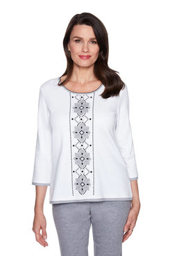 Image: Petite Center Flower Applique Top