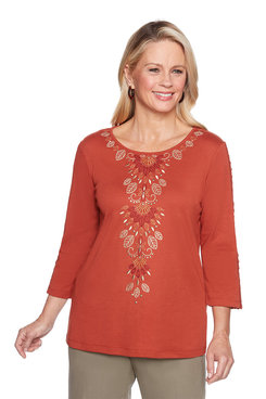 Image: Petite Center Leaf Embroidery Top
