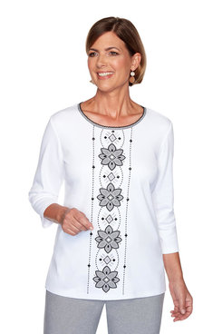 Image: Petite Center Medallion Embroidered Top