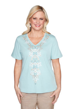 Image: Petite Center Medallion Embroidery Top