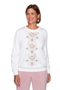 Image: Petite Center Scroll Embroidery Top