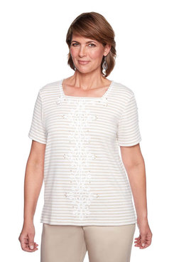 Image: Petite Center Scroll Stripe Top