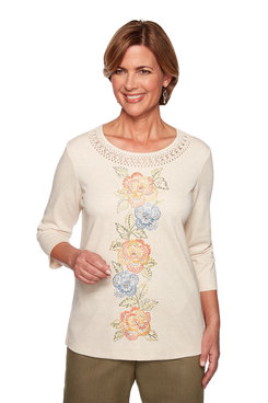 Image: Petite Centered Floral Knit Top