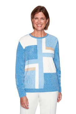 Image: Petite Chenille Colorblock Sweater