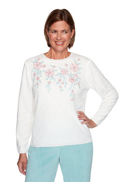Image: Petite Chenille Floral Embroidery Diamond Stitch Sweater