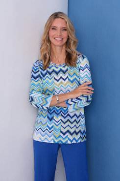 Image: Petite Chevron Patch Knit Top
