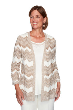 Image: Petite Chevron Pointelle Two-For-One Sweater