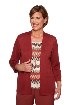Image: Petite Chevron Pointelle Two for One Sweater