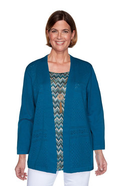 Image: Petite Chevron Two-For-One Sweater With Necklace