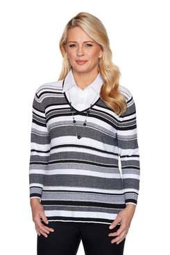Image: Petite Collared Striped Two for One Sweater