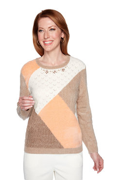 Image: Petite Colorblock Chenille Sweater