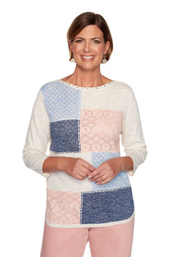Image: Petite Colorblock Patchwork Sweater