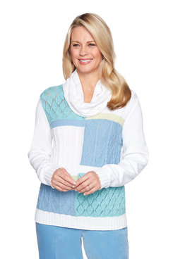 Image: Petite Colorblock Sweater With Removable Scarf