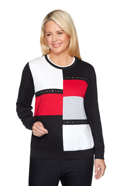 Image: Petite Colorblock Well Red Top