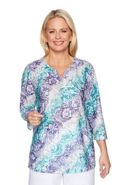 Image: Petite Diagonal Scroll Texture Tunic