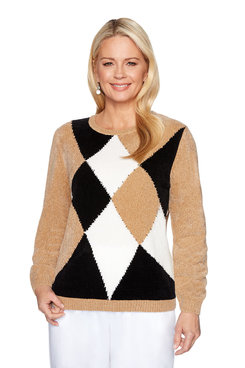 Image: Petite Diamond Chenille Sweater