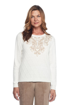 Petite Diamond Embroidered Yoke Sweater