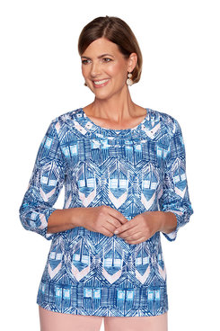 Image: Petite Diamond Ikat Top
