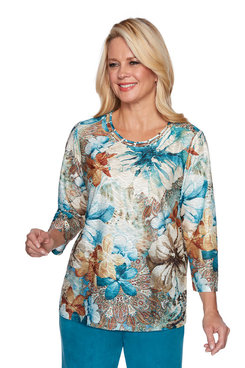Image: Petite Dramatic Texture Floral Top