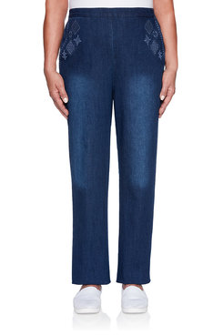 Image: Petite Embellished Proportioned Medium Denim Jean