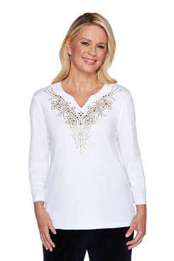 Image: Petite Embellished Yoke Top