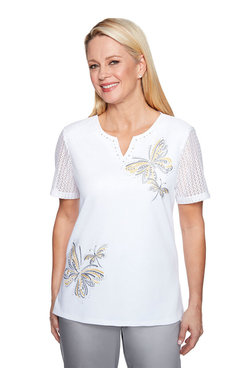 Image: Petite Embroidered Butterfly Top