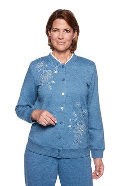 Image: Petite Embroidered Button Front Top