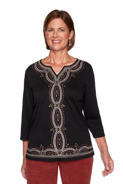 Image: Petite Embroidered Center Knit Top