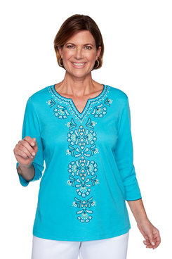 Image: Petite Embroidered Center Top