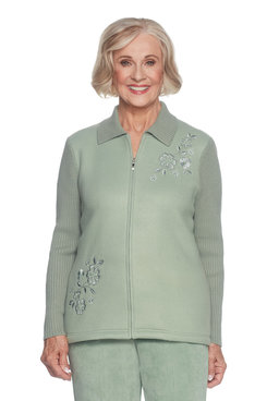 Image: Petite Embroidered Fleece With Knit Sleeves