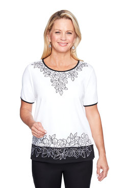 Image: Petite Embroidered Floral Border Top