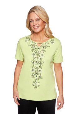 Image: Petite Embroidered Knit Top