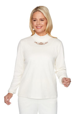 Image: Petite Embroidered Mock Neck Top