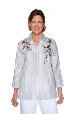 Image: Petite Embroidered Striped Shirt