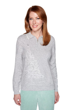 Image: Petite Embroidered Tree Sweater