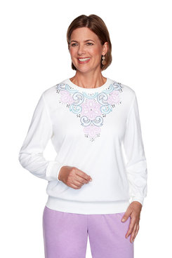 Image: Petite Embroidered Yoke Pullover