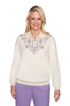 Image: Petite Embroidered Yoke Top