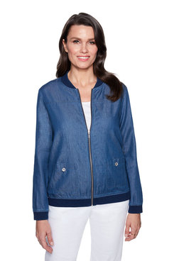 Image: Petite Enzyme Wash Denim Bomber Jacket