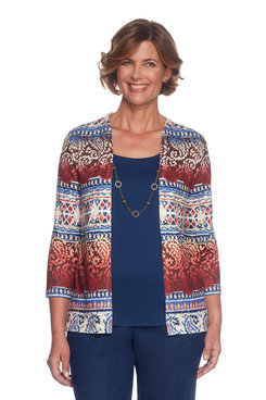 Petite Ethnic Biadere Two For One Sweater