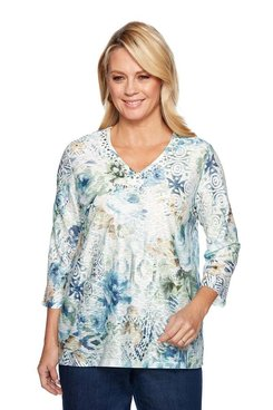 Image: Petite Ethnic Textured Floral Top