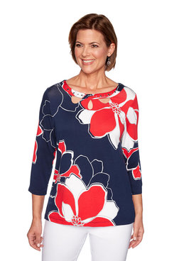 Image: Petite Exploded Floral Knit Top